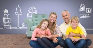 Glückliches mit Hauptzeichnungen zusammen sitzen der Familie stock abbildung