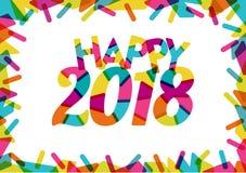 Glückliches 2018 mit Prächtigen Farben und farbigen dekorativen Formen M Lizenzfreie Abbildung