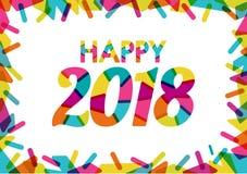 Glückliches 2018 mit Prächtigen Farben und farbigen dekorativen Formen M Stock Abbildung
