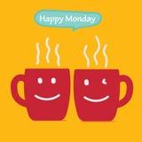 Glückliches Montag-Kaffeetasse-Konzept lokalisiert auf gelbem Hintergrund mit Lächelngesicht auf Schale Stockfotos