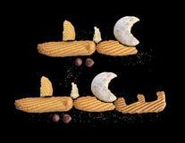Glückliches moslemisches Fest, Eid Al-Fitr Cookies Greeting Stockfotografie