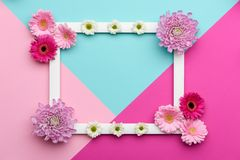 Glückliches Mutter ` s Tag-, Frauen ` s Tag-, Valentin-` s Tag oder Geburtstags-Pastellsüßigkeit färbt Hintergrund Blumenebenenla Lizenzfreies Stockbild