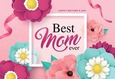 Glückliches Mutter ` s Tagesgrußdesign Stockbilder