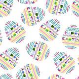 Glückliches nahtloses Muster Ostern Geometrische Buchstaben in der Eiform Buntes Osterei auf weißem Hintergrund vektor abbildung