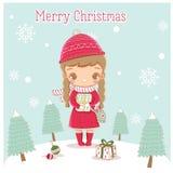 Glückliches nettes kleines Mädchen bereiten Geschenke für Weihnachtsfest vor lizenzfreie abbildung