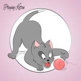 Glückliches nettes spielendes Kätzchen Einfache Karikaturart Auch im corel abgehobenen Betrag Lizenzfreie Stockfotos