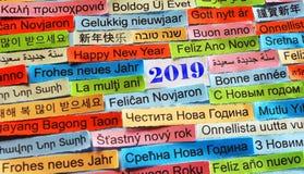 Glückliches neues 2019-jähriges auf verschiedenen Sprachen lizenzfreies stockfoto