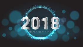 Glückliches neues 2018-jähriges glänzendes Glühen blaue und silberne Grußkarte Stockbilder