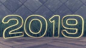 Glückliches neues 2019-jähriges Illustrations-Goldzahlen 2019 des Feiertags 3d Auf einem hölzernen Hintergrund Grünes Gras Modisc stockfotografie
