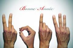 Glückliches neues Jahr 2013 auf französisch Stockbild