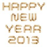 Glückliches neues Jahr 2013 aufbereitetes papercraft. Stockfotografie