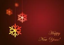 Glückliches neues Jahr auf rotem Hintergrund Stockfotos