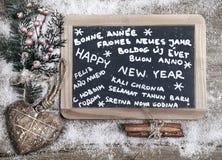 Glückliches neues Jahr in den verschiedenen Sprachen Lizenzfreies Stockbild