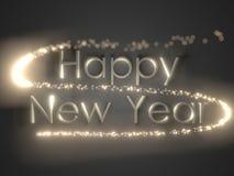 Glückliches neues Jahr Feiertagshintergrund mit goldenem Text stock abbildung