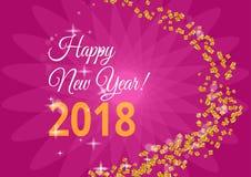 Glückliches neues Jahr Feiertagsvektorillustration Glänzende Beschriftungs-Zusammensetzung mit Sternen und Scheinen Stockfotografie