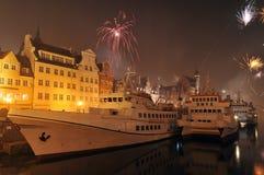 Glückliches neues Jahr, Feuerwerke in Gdansk, Polen Stockfoto