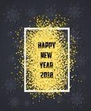 Glückliches neues Jahr Goldfunkeln 2018 Golden auf schwarzem Schneeflockenhintergrund Stockbilder
