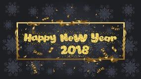 Glückliches neues Jahr Goldfunkeln 2018 Goldener Text lokalisiert auf schwarzem Hintergrund stock abbildung