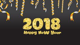 Glückliches neues Jahr Goldfunkeln 2018 Goldener Text und Konfettis auf schwarzem Hintergrund stock abbildung