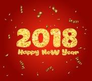 Glückliches neues Jahr Goldfunkeln 2018 Goldener Text und Konfettis lokalisiert auf rotem Hintergrund lizenzfreie abbildung