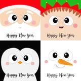 Glückliches neues Jahr IKONENsatz des quadratischen Gesichtes Santa Claus Elf Snowman Penguin-Vogels Haupt Frohe Weihnachten Lust vektor abbildung
