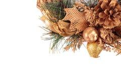 Glückliches neues Jahr Kerze und Glaskugeln mit dem gezierten Zweig Stockfotografie