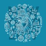 Glückliches neues Jahr Postkarte Hand gezeichnetes Han und verschiedene Elemente Stockfoto
