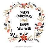 Glückliches neues Jahr und frohe Weihnachten Gruß des Kranzes mit Kalligraphie Stockfotografie
