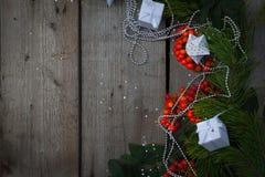 Glückliches neues Jahr und frohe Weihnachten Hintergrund Stockbild
