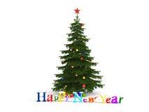 Glückliches neues Jahr-Weihnachtsbaum Stockbild