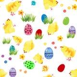 Glückliches Ostern-Aquarell nahtlos lizenzfreie stockbilder