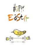 Glückliches Ostern-Kartendesign, kalligraphischer Text, beschriftend Übergeben Sie gezeichnete stilisierte Blumen und Schmetterli Lizenzfreies Stockfoto