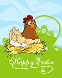 Glückliches Ostern-Kartendesign mit einer Henne Stockfoto