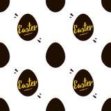 Glückliches Ostern-Schwarzes und Goldnahtloser Musterhintergrund Lizenzfreie Stockbilder