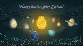 Glückliches Ostern-Sonnensystem lizenzfreie abbildung