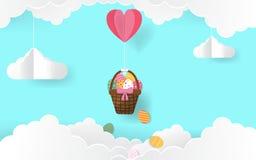 Glückliches Ostern-Tagespapierkunst-Kartendesign mit Süßigkeitsfarben 2D Farbton ärgert das Hängen in der Fessel mit Herz Ballon  stock abbildung