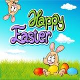 Glückliches Ostern-Textdesign mit Häschen, Eiern und Frühling vektor abbildung