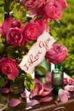 Glückliches Paar auf dem Hintergrund von Gartenrosen Stockfotos