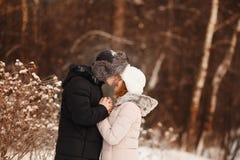 Glückliches Paar, das den Spaß, lächelnd hat stockfoto