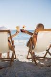 Glückliches Paar, das ihre Gläser klirrt Lizenzfreie Stockfotos