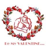 Glückliches Paar, das im Herzen küsst Hochzeitskarte, Verpflichtung, engagieren sich, Valentinsgrußtag, Heirat, Aquarell Seien Si Stockbild