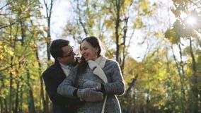 Glückliches Paar, das im Park umarmt stock footage