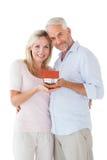 Glückliches Paar, das Miniaturmusterhaus hält Stockbilder