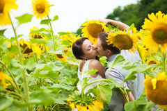 Glückliches Paar in der Liebe, die Spaß auf dem Gebiet voll von Sonnenblumen hat Stockfoto