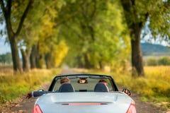 Glückliches Paar im Auto stockfotografie