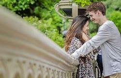 Glückliches Paar im Central Park Stockbilder