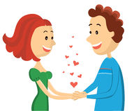 Glückliches Paar. Vektorfrauen- und -mannliebhaber auf Valent Stockfotografie