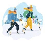 Glückliches Paar, welches das nordische Gehen in den Schnee übt vektor abbildung
