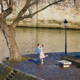 Glückliches Paar, welches nahe Notre-Dame die Seine in Paris küsst stockbild