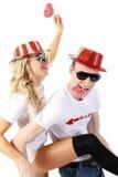 Glückliches Paare partying lizenzfreies stockfoto